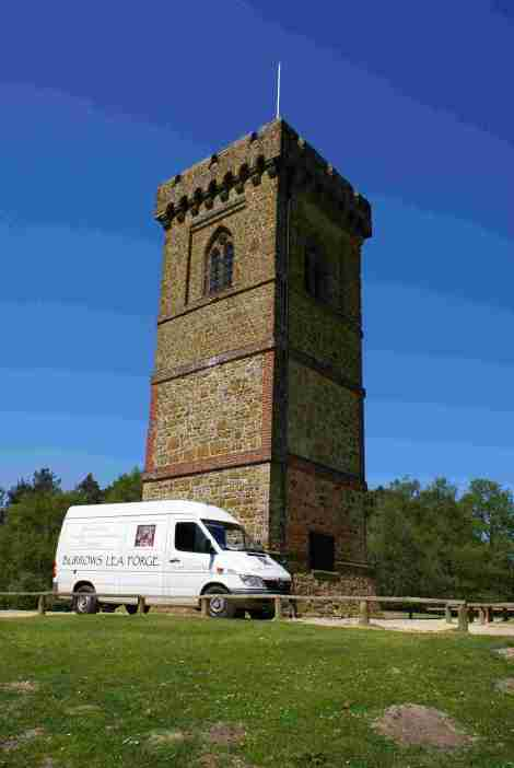 BLF van at Leith Hill Tower, Surrey, England.